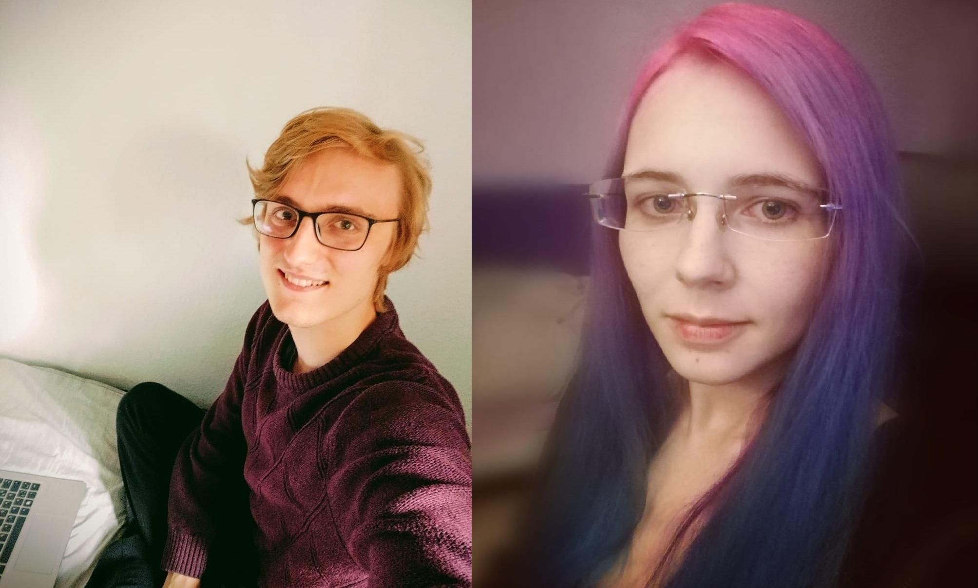 Ein junger blonder Mann und eine pinkhaarige junge Frau mit Brille